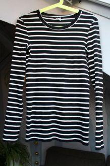 T-shirt Petit Bateau femme style marinière taille M