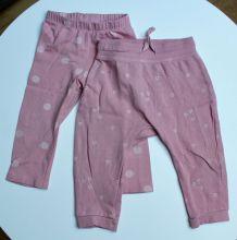 Lot de 2 pantalons H&M roses à motifs taille 9-12 mois