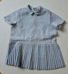 Robe vintage vichy bleu et blanc 12 mois