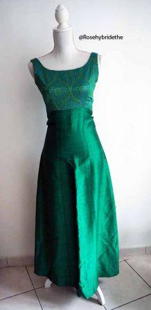 Robe longue de soirée moirée brocart vintage 1960's