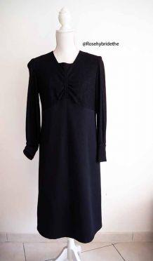 Robe babydoll bi-matière noire pailletée vintage 60's
