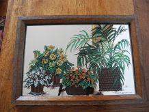 Miroir Déco Vintage 70'S décor plantes et fleurs