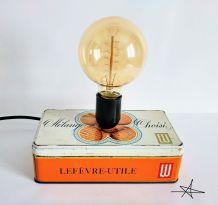 """Lampe vintage, lampe de bureau, lampe de chevet - """"Mon p'tit LU"""""""