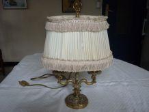 Lampe bouillotte bronze,abat jour tissu