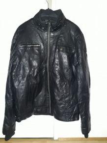 Veste en cuir noir JULES