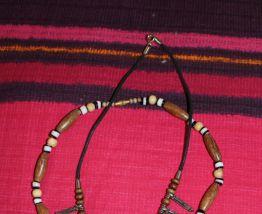 lot collier perle bois coquillage fantaisie vintage hippie/ethnique/africain chic
