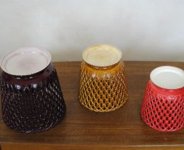 3 cache-pot en platique vintage