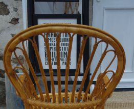 Grand fauteuil bambou et rotin années 60 peacock