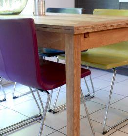 Chaise design en cuir (vert)