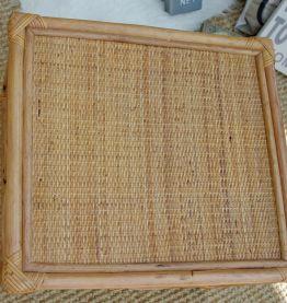 Table rotin carrée vintage années 50