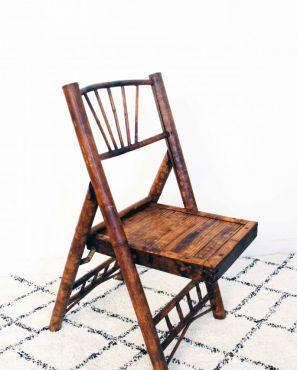 Chaise en bambou vintage ramenée d'Indochine