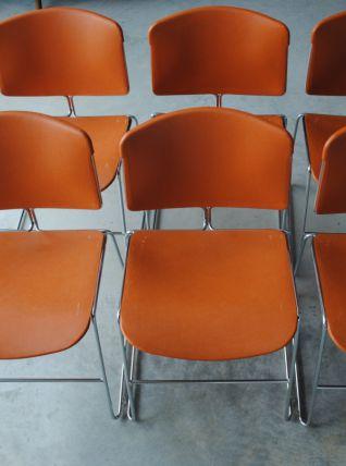 Suite 6 chaises signées Max-Stacker édition Steelcase des années 70