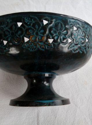 Coupe ajourée en laiton patiné, saladier, centre de table, coupe à fruit, noir et bleu