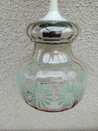 Suspension vintage en verre à motifs de fleurs vertes