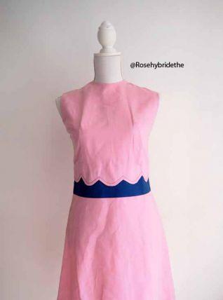 Robe babydoll mod Twiggy rose vintage 60's