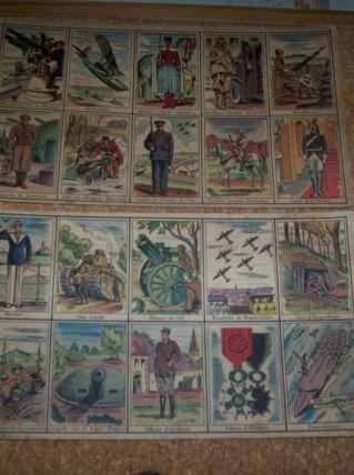 LOT 4 PLANCHES SOIT  40 IMAGES ANCIENNES D'ECOLIERS THEME MILITAIRE