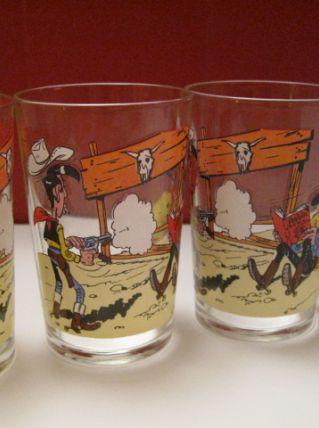 4 verres Amora Lucky Luke