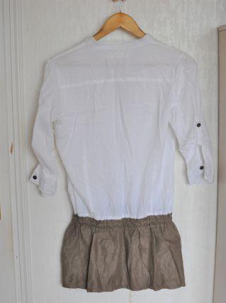 Tunique bicolore blanche et taupe effet daim - Taille M