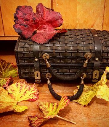 Petite valise noire. Osier cuir et velours