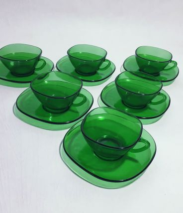 6 tasses à café Vereco vert