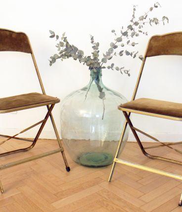Paire de chaises vintage pliables metal doré 70's