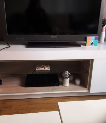 Meuble Tv hifi bois blanc Fly