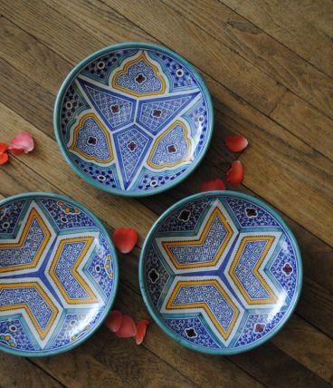 3 plats marocains céramique vintage superbes décors