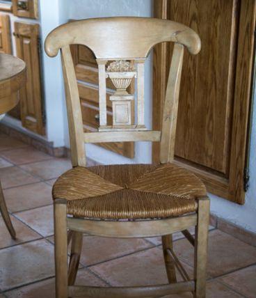 4 chaises anciennes chêne et paille