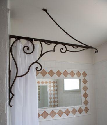 Support pour rideau de douche en fer forgé