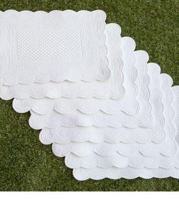 8 sets de table boutis blanc