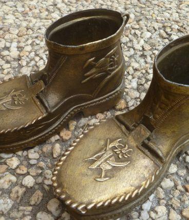 chaussures cendrier en laiton, vintage