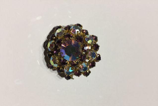 Broche strass cristal violets années 60