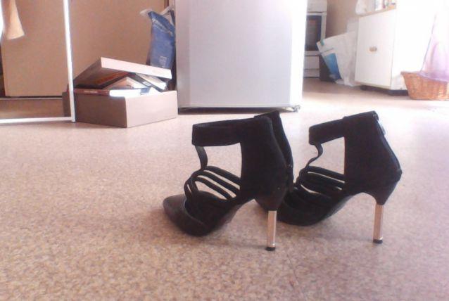 chaussures noires cuir et daim